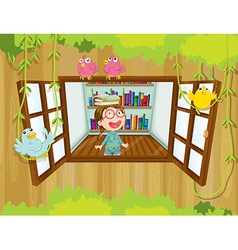 A girl at the tree house with books above her head vector image