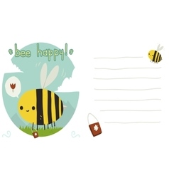 Bee happy postcard vector image vector image