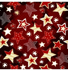 Briht stars on red mosaic background vector image