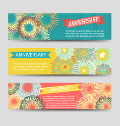 colorful anniversary banners with fireworks vector image