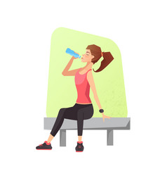 Exhausted woman dehydrated feeling exhaustion vector