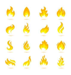 Fire Flames Icons vector image