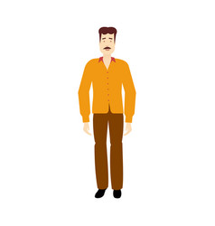 flat adult man with mustage isolated vector image vector image