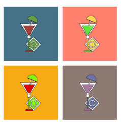 Flat icon design collection condom and cocktail vector