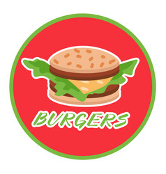 Hamburger food or restaurant icon on round red vector