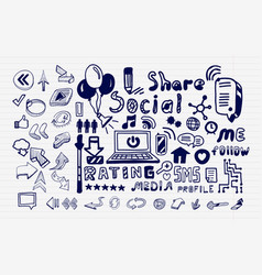 mega collection of hand drawn social media vector image vector image