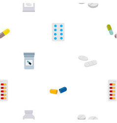 seamless pattern with drugs pills and capsules vector image