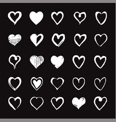 set of white hand drawn hearts design elements vector image vector image