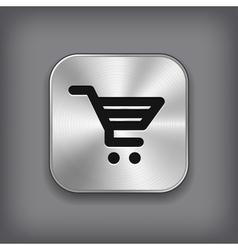 Shop cart icon - metal app button vector image