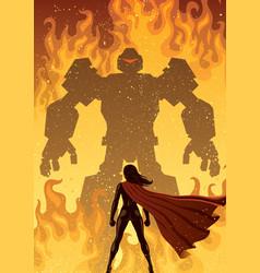 super heroine versus robot vector image vector image