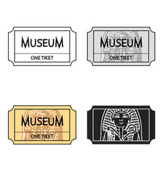 ticket to the museum icon in cartoon style vector image vector image