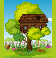 Treehouse with swing in the park vector