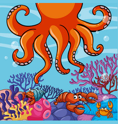 Underwater scene with giant octopus and crabs vector