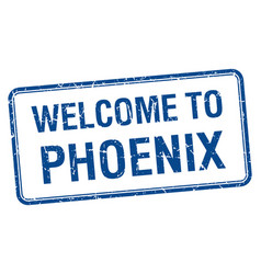Welcome to phoenix blue grunge square stamp vector