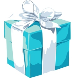 White gift box with a blue bow on white background vector image