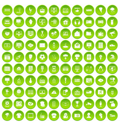 100 trophy and awards icons set green circle vector