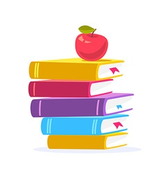 Colorful of close up stack of books with red vector