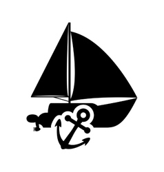 Sailboat anchor transportation design vector