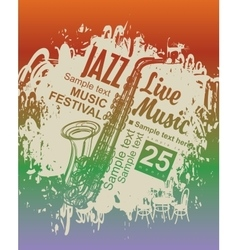 Music poster with jazz festival vector