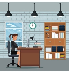 Woman sitting work desk bookshelf clock wall brick vector