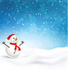 Christmas background with cute snowman vector image