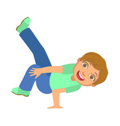 boy doing stand on one hand dancing breakdance vector image