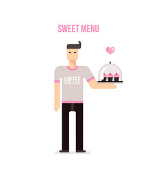 Young man with tray bringing delicious cupcakes on vector