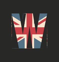 Capital 3d letter w with uk flag texture isolated vector