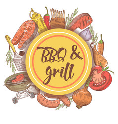 bbq and grill hand drawn background with steak vector image