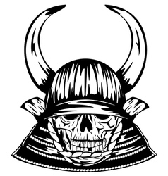 Skull in samurai helmet with horns vector