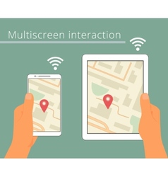 Multiscreen interaction synchronization of vector