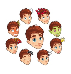 Various expressions of boy vector
