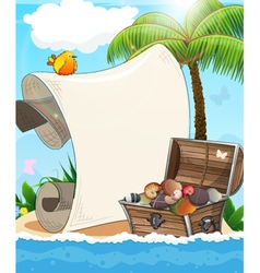 Desert island and treasure chest vector