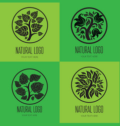 Set tree logo 001 vector