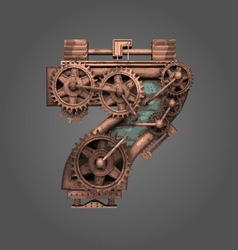 7 rusted letter with gears vector image