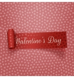 Valentines day textile scroll red ribbon vector