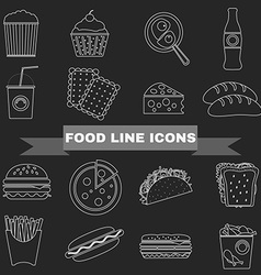 Fast food and snacks big icons set vector