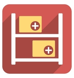 Medical warehouse flat rounded square icon with vector