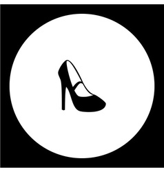 Simple lady court shoe isolated black icon eps10 vector