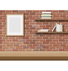 table frame shelf brick background vector image