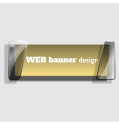Abstract web banner in realistic style with glass vector image vector image