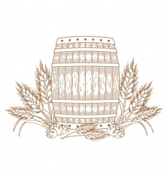 Barrel with wheat vector