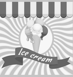 Black-and-white poster - waffle ice cream cone vector