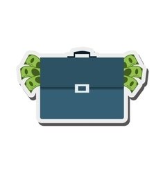Briefcase full of money icon vector