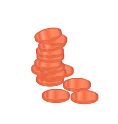bronze coins pile realistic bronze coins vector image vector image