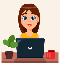business woman entrepreneur working on a laptop vector image vector image