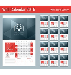 Calendar for 2016 year 12 pages design clean vector