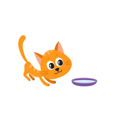 cute comic style red cat and bowl of milk vector image