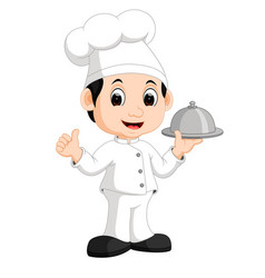 Cute little chef bringing the dishes vector