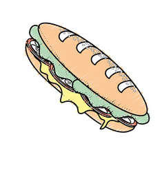 Delicious sandwich fast food meal vector